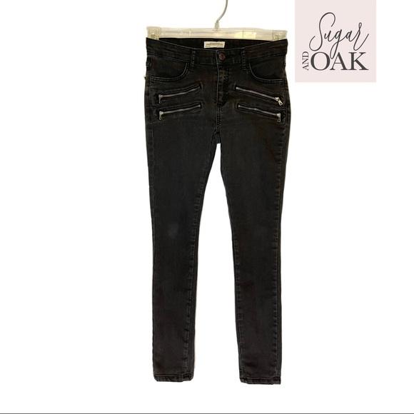 ZARA Premium Denim Zipper Jeans Black Wash Sz 2